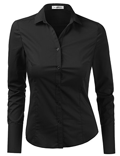 Doublju Womens Slim Fit Plain Classic Long Sleeve Button Down Collar Shirt Blouse Black X-Small
