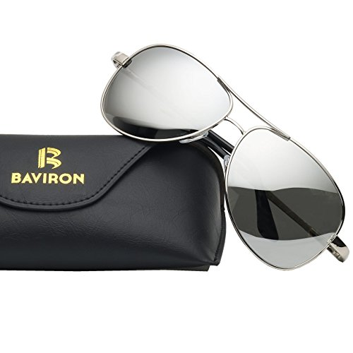 BAVIRON Mens Aviator Metal Frame Sunglasses Polarized Military Mirrored Pilot Retro - Card Silver Aviator
