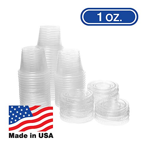 1 OZ Dart Clear Plastic Disposable Portion Cups, Jello Shot, Condiment, Sauce, Sample, Medicine, BPA Free, Made in USA (100 Cups - No Lids)