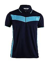 BCPOLO Men's Zip Polo shirt Dri-Fit short sleeve Polo shirt Coolomax T-Shirt-navy XS