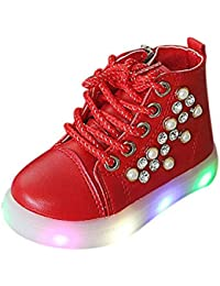 Kehen Toddler Girls Boy Crystal Ankle Boots Outdoor Walking Shoes LED Light Sneakers Kid Short Boots