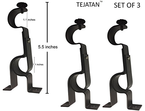 TEJATAN Double Curtain Rod Brackets - Black (3)