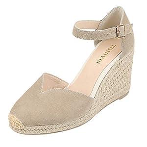 TONIVIS Platform Wedges Sandals for Women, 3″ Wedge, Ankle-Strap, Cap Toe, Summer Espadrilles Heel Shoes