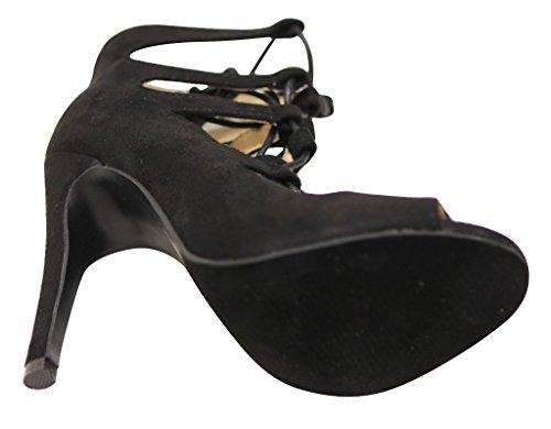Chase & Chloe Edward-46 Womens peep toe lace up bondage zip closure high heel suede sandals Black GlOjTZC
