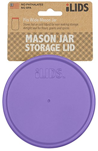 iLIDS Wide Mouth Mason Jar Storage Lid, Purple, 2-Pack
