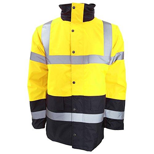 Portwest Mens Hi-Vis Waterproof Contrast Panel Traffic Jacket (3XL) (Yellow/Navy) by Portwest