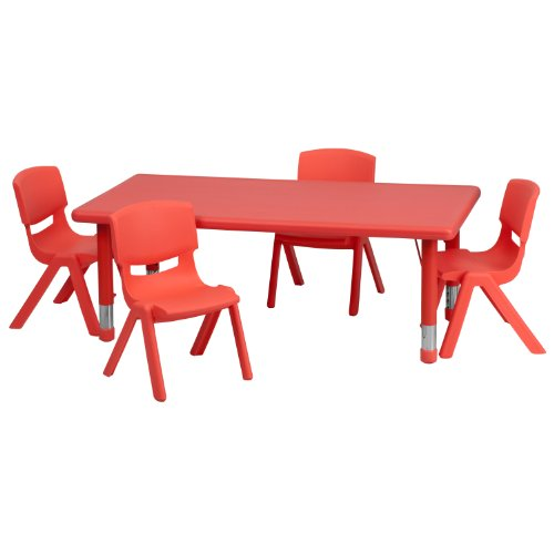 Flash Furniture 24''W x 48''L Rectangular Red Plastic Height Adjustable Activity Table Set with 4 Chairs by Flash Furniture