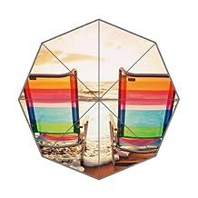 Popular Umbrella Sunset Summer Sea Landscape Beach Chairs Design Fabric and Aluminium Auto Foldable Umbrella
