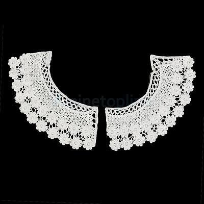 (1 Pair Vintage White Cotton Crochet Flower Peter Pan Collars Sewing Necklace)