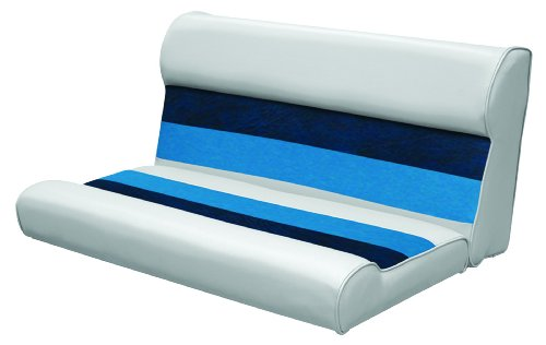 (Wise 36-Inch Pontoon Bench Seat Cushion (Base Required to Complete), Gray/Navy/Blue)