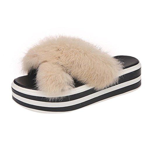 - DENER Women Girls House Slippers,Fluffy Cross Strappy Slip on Wide Width Comfortable Indoor Outdoor Bedroom Shoes Sandals (Beige, 37)