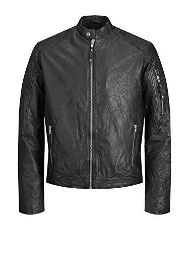 Jack Nero Clean Leather Uomo Jones amp; Noos Nos Cappotto black Black Jacket Jjerichard 6qwr6Av1I