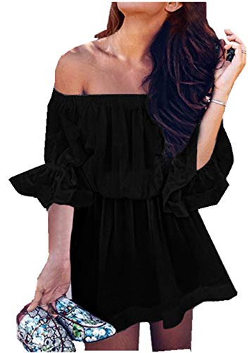 ZXLLZ Dress Casual Skirt Solid Color Strapless Neck Collar Dress Women( Black,M)