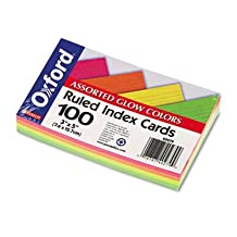 Oxford Products - Oxford - Ruled Index Cards, 3 x 5, Glow Green/Yellow/Orange/Pink, 100/Pack - Sold As 1 Pack - Ideal for presentations and study aids. - Precision engineered for uniform size. - Commercial-quality card stock.