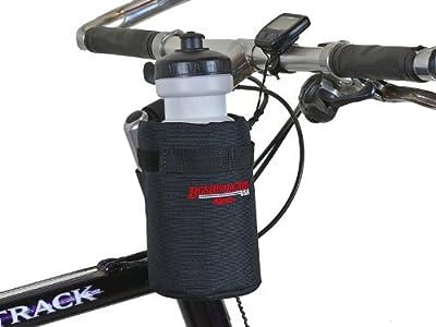 Bushwhacker Shasta Black - Insulated Bike Water Bottle Holder w/ 22 oz. Bottle - Two Point Bike Frame & Handlebar Attachment w/ Belt Loop