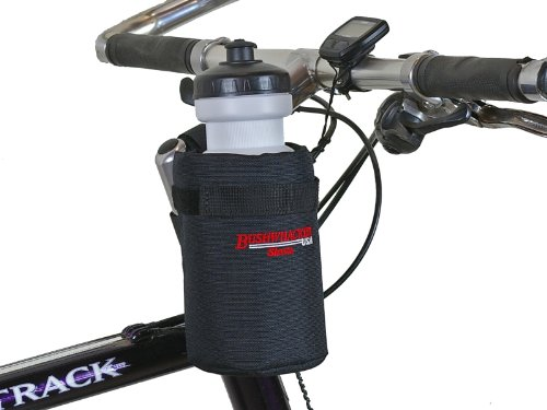 Bushwhacker Shasta Black - Insulated Bike Water Bottle Holder w/ 20 oz. Bottle - Two Point Bike Frame & Handlebar Attachment w/ Belt Loop 20 Ounce Bike Bottle