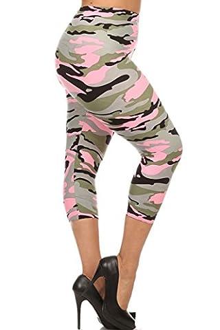NioBe Women's Plus Size Fashion Design Capri Crop Leggings (One Size, Light Pink Camo)