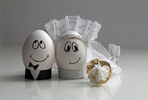 AOFOTO 10x7ft Cute Wedding Decoration Background Painted Easter Eggs With Bride And Groom Smiling Faces Photography Backdrop Newlyweds Photo Studio Props Lovers Couple Artistic Portrait Wallpaper ()