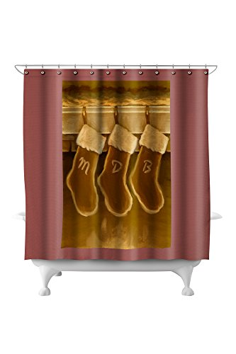 Stockings - Christmas Oil Painting (71x74 Polyester Shower Curtain)