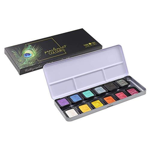 Finetec, Artist Pearlescent, F0604, Watercolor Paint, Assorted Pearlescent Colors - 12 Color Set