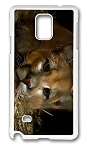 MOKSHOP Adorable cougar Hard Case Protective Shell Cell Phone Cover For Samsung Galaxy Note 4 - PC White by lolosakes