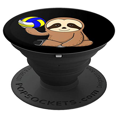 Volleyball Player Coach Sloth Gift Men Women Gift Beach - PopSockets Grip and Stand for Phones and Tablets (Best Female Beach Volleyball Players)