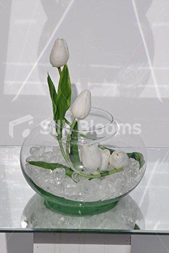 Elegante blanco de arreglo Floral Tulip pecera advpro/piedras