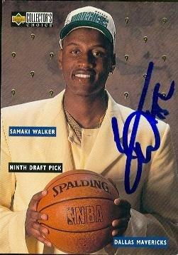 (Samaki Walker autographed Basketball card (Dallas Mavericks) 1996 Upper Deck Rookie #DR9)