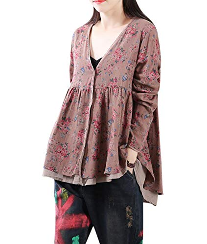 YESNO L14 Women Casual Sweet Floral Shirts Fake Twins Sets 2 Layer 100% Cotton 'A' Swing Skirt High Low Hem Long Sleeve ()