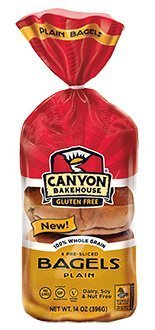Canyon Bakehouse Gluten-Free Presliced Plain Bagels (4 Bagels Per Pack)