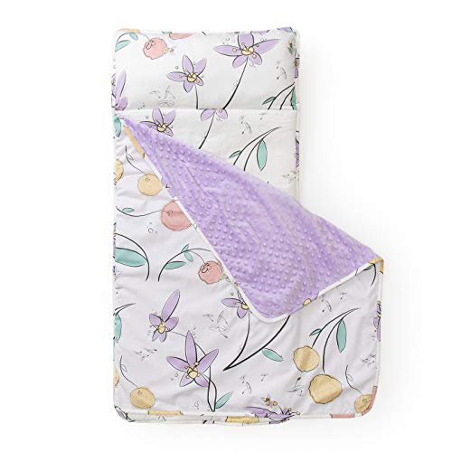 JumpOff Jo - Little Jo's Toddler Nap Mat - Children Sleeping Bag with Removable Pillow for Preschool, Daycare, and Sleepovers - Original Design: Fairy Blossoms (43