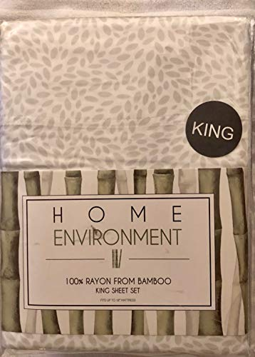 Home Environment White King Sheet Set with Grey Leaf Pattern 100% Rayon from Bamboo - Antibacterial Eco-Friendly