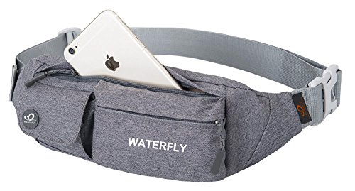 773f194e628a ... travel bags anti theft for men right here. WATERFLY Fanny Pack Slim  Soft Polyester Water Resistant Waist Bag for Man Women Carrying Iphone 8