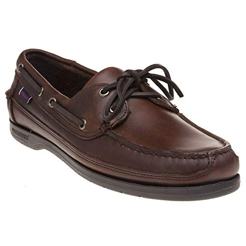 (Sebago Mens Schooner Waxed Leather Docksides Boat Shoes Brown Gum 12.5 US)
