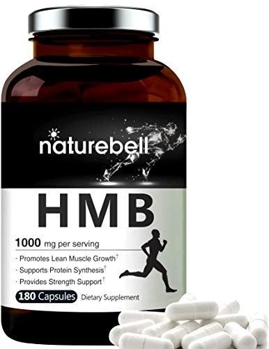 Maximum Strength HMB Capsules 1000mg Per Serving, 180 Counts, Powerfully Promotes Energy, Protein Synthesis, Muscle Growth. No GMOs and Made in USA.