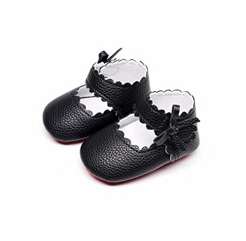 SYY 0-2 Jahre alt Nettes Baby Kleinkind Neugeborene Mädchen Jungen Weiche Sohle Welle Bowknot Schuhe Schwarz