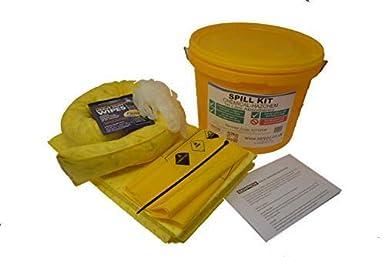 Kit de derrames químicos de 10 litros en un recipiente de plástico. Ácidos, alcalinos, cáusticos