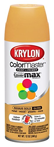 Interior Paint Aerosol - Krylon K05180102 Bauhaus Gold Interior and Exterior Decorator Paint - 12 oz. Aerosol