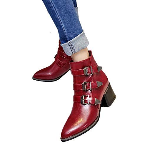 Rojo Luckygirls Hebilla Con Zapatos Casuales Para Botines 10cm Botas Mujer wzw1Pqa