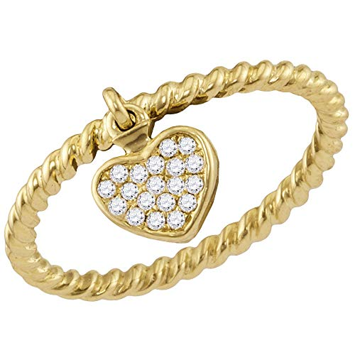 Jewels By Lux 14kt Yellow Gold Womens Round Diamond Heart Dangle Stackable Band Ring 1/10 Cttw In Pave Setting (I2-I3 clarity; H-I color)