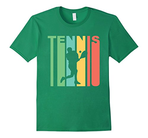 Men's Retro 1970's Style Tennis Player Silhouette Sports T-Shirt Large Kelly Green