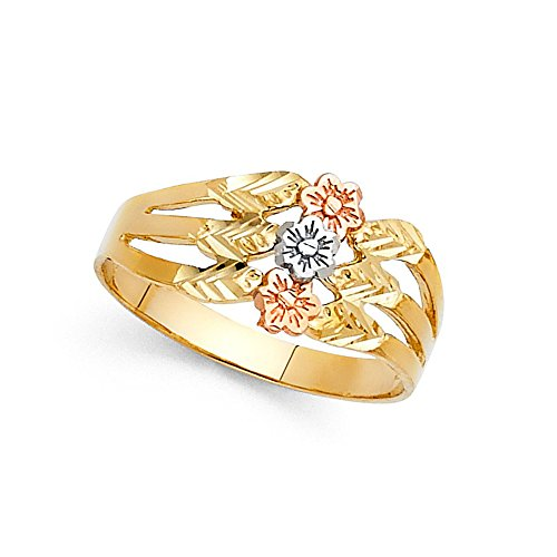 (Three Flower Ring 14k Yellow White Rose Gold Fancy Floral Band Diamond Cut Solid Tri Color 10MM Size 6.5 )