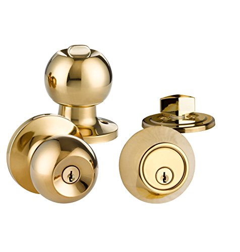 Mortise Lock 2 Lever (COMBO Entry Ball Door Knob and Deadbolt, Lock Set by LOKĖT (1, POLISHED BRASS))