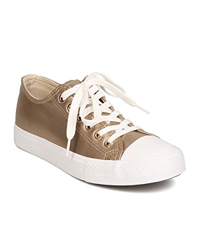 Qupid GK61 Women Metallic Leatherette Capped Toe Lace Up Sneaker – Gold (Size: 10)