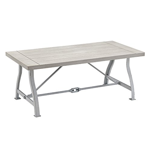 Furniture HotSpot White Coffee Table with Wood Plank Top - Saw Horse Iron Metal Frame - Distressed Grain