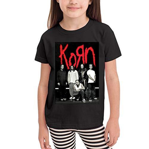 - ZestyChef Children Korn Logo Casual Crew Neck Short Sleeves T Shirt Girl's&Boy's Tops Black