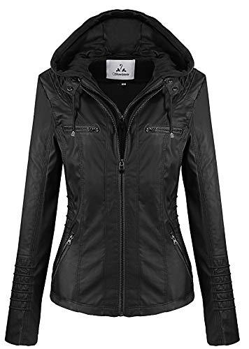 (Showlovein Women Hooded Faux Leather Jacket Hat Detachable Motorcycle Jacket (XXX-Large, Black))