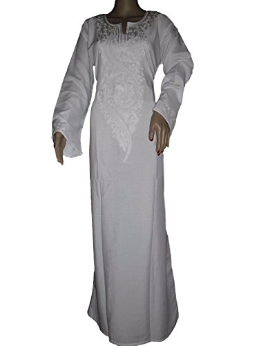 Egypt Islamic White Cotton HajjUmrah Abaya Jilbab Dress Kaftan Hijab Maxi Isdal, (Dresses Of Egypt)