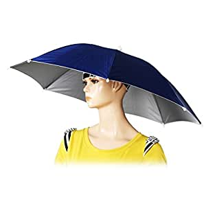 "TKmell 26"" Folding Diameter Elastic Band Fishing Headwear Umbrella Hat Dark Blue"