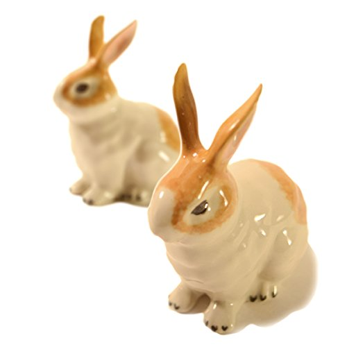 CinMin Ceramic Bunny Rabbit Figurine 2 Piece Glazed Set, 3 Inch by